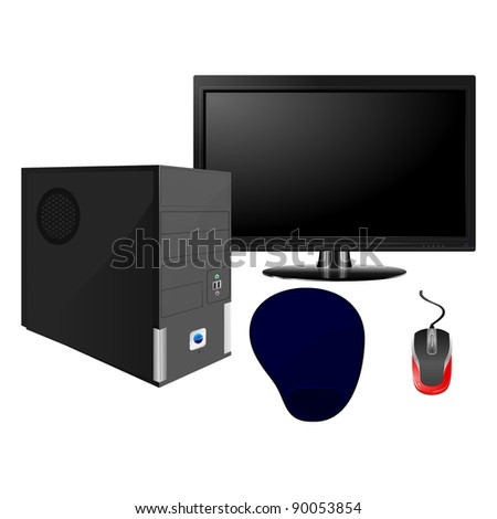 Set  of computer components - stock vector