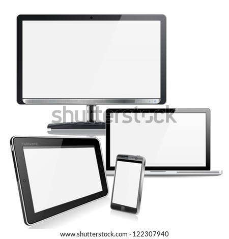 Set of Computer Devices - Monitor, Laptop, Tablet PC, Smartphone, isolated on white background
