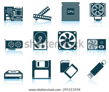 Set of computer hardware icons.  - stock vector