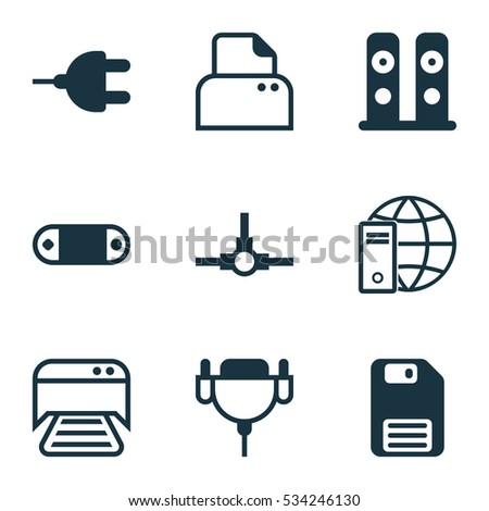 Set Of 9 Computer Hardware Icons. Can Be Used For Web, Mobile, UI And Infographic Design. Includes Elements Such As File Scanner, Loudspeakers, Vga Cord And More.