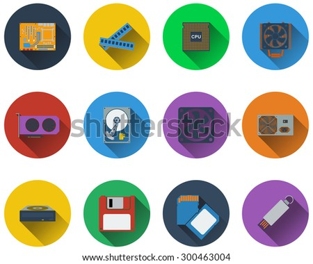 Set of computer hardware icons in flat design - stock vector