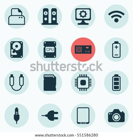 Set Of 16 Computer Hardware Icons. Includes File Scanner, Wireless, Portable Memory And Other Symbols. Beautiful Design Elements.
