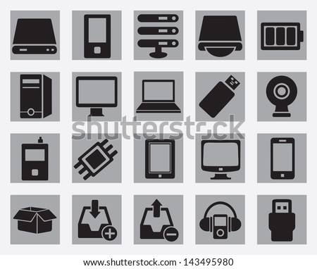 Set of computer hardware icons - vector icons