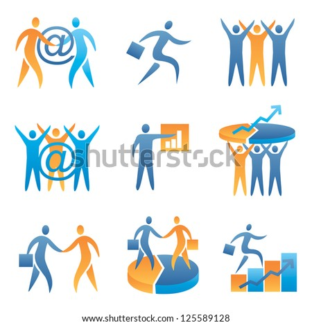 Set of Computer icons, business success, internet business. Vector illustration.
