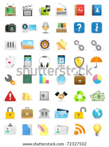 Set of computer icons on a white background - stock vector
