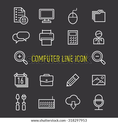 set of computer line icon isolated on black background