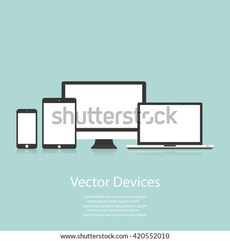 Set of computer monitors, laptops, tablets and mobile phones. Electronic gadgets, isolated, on white  background - stock vector