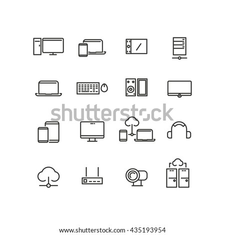 Set of computers and devices line icons. Communication, technology electronic. Vector illustration