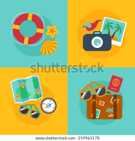 Set of concepts and banners  of travel, summer in the flat style - stock vector
