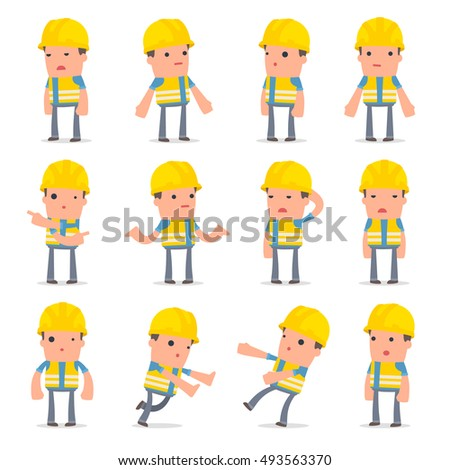 Set Confused Sad Character Smart Builder Stock Vector 493563370