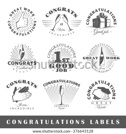 Set of congratulations labels. Elements for design on the congratulations theme. Collection of congratulations symbols: handshake, applause, champagne. Modern labels of congratulations. Illustration  - stock vector