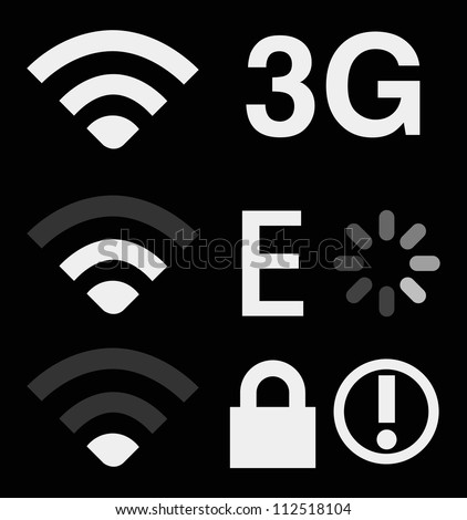 Set of connection sign on smart phone (wireless,3g,edge,lock) - stock vector
