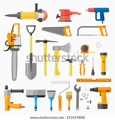 Set of construction and power electric tools isolated on white background. Collection of flat style icons. Vector illustration. - stock vector