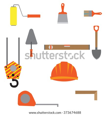 Set of construction equipment and tools, vector image.flat icons