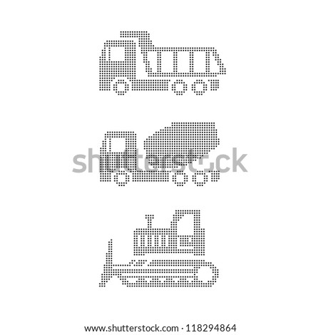 Set of construction equipment on white tractor, grader, truck, truck mixer - stock vector