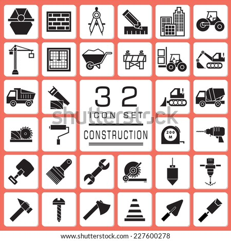 Set of Construction icons for web icon collections.  - stock vector