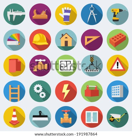 Set of construction icons in flat design with long shadows Part 2