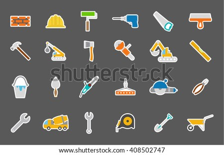 Set of 24 Construction isolated icons