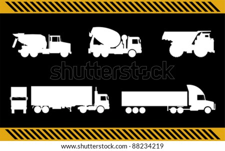 set of construction machinery trucks isolated - stock vector