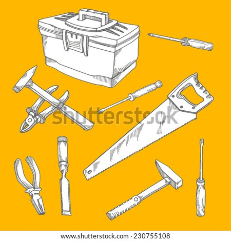 Set of construction tools - stock vector