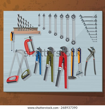 Set of construction tools hanging on the iron stand.Saw, screwdriver, wrench, hammer. design banner - stock vector