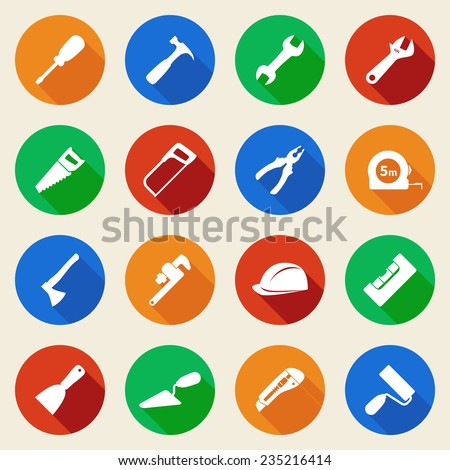 Set of construction tools icons in flat style. Vector illustration - stock vector