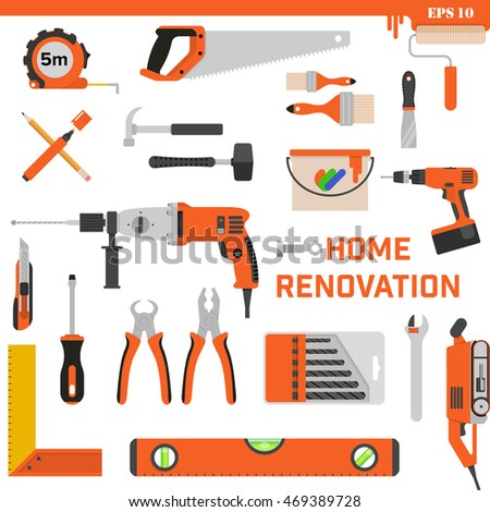 Set of construction tools on a white background. Vector concept - Home renovation