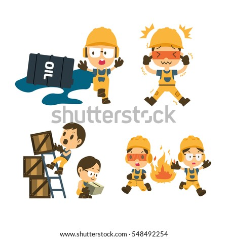 stock vector set of construction worker accident working safety first health and safety vector illustrator 548492254