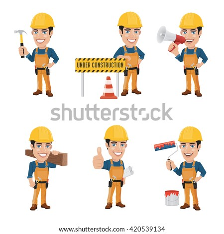 Set of Construction Worker Character in 6 Different Poses - stock vector
