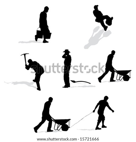 set of construction workers, vector illustration