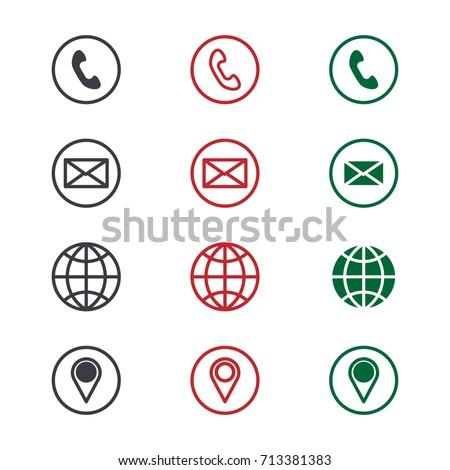 Set contact detail icon isolated on stock vector hd royalty free set of contact detail icon isolated on white background in green red and black reheart Gallery