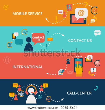 Set of contact us call center business chat communication banners vector illustration - stock vector