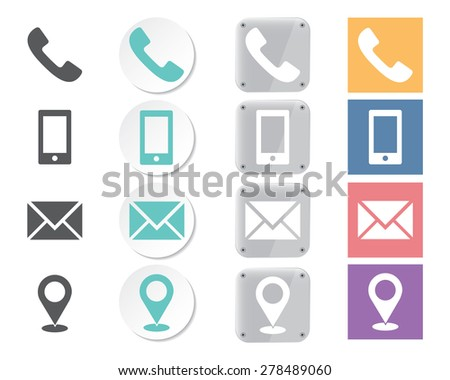 Set of contacts icons - stock vector