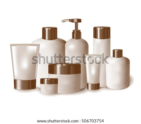 Set of containers, bottles, tubes, jars, for cosmetics. 3d illustration.