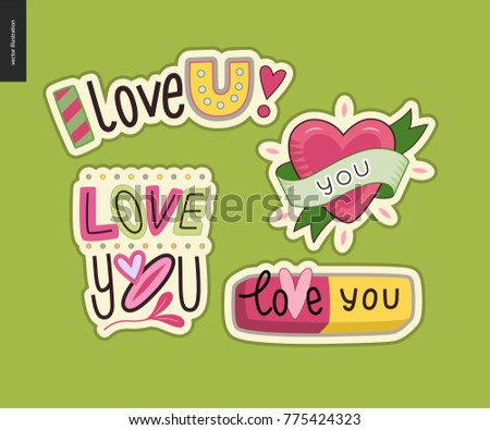 set contemporary girlie love you letter stock photo photo vector
