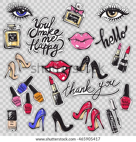 Set of contemporary patches elements: You make me happy phrase, thank you calligraphy, pink lips, eyelashes eye, red heels, nail polish colors, french perfume, mascara, lipstick. Vector stikers kit.