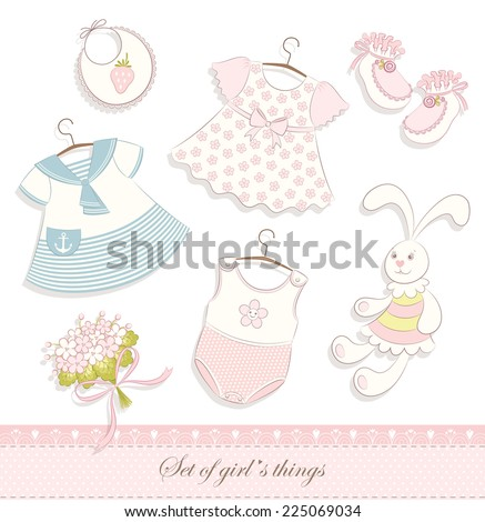 Set of contour cute baby girl`s things, toy hare and bouquet. Vector background. - stock vector