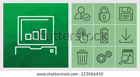 Set of contour simple application icons - vector illustration - stock vector