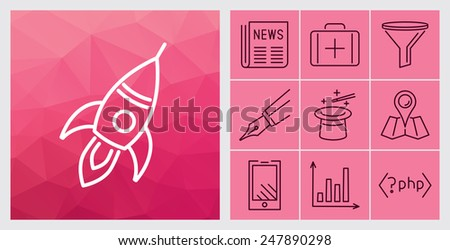Set of contour simple website icons - vector illustration - stock vector