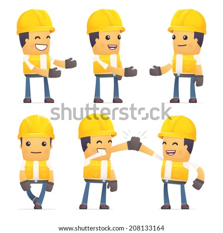 set of contractor character in different interactive  poses