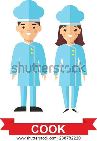 Set of cook and cook woman. Vector illustration of a kitchener and cook woman  - stock vector