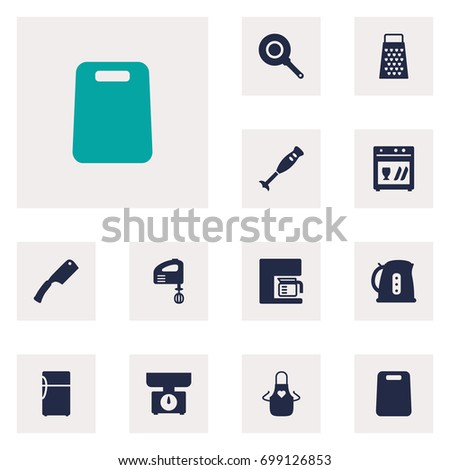 Set Of 12 Cooking Icons Set.Collection Of Refrigerator, Mixer, Slicer And Other Elements.