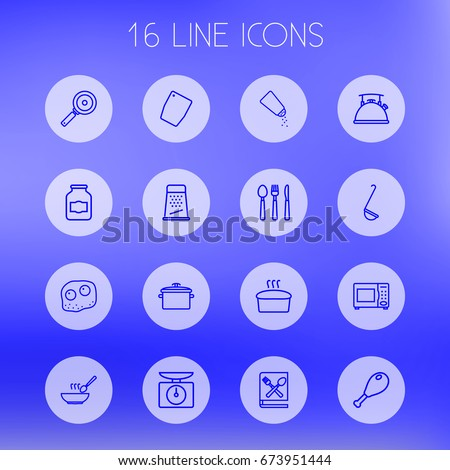 Set Of 16 Cooking Outline Icons Set.Collection Of Cutlery, Book Of Recipes, Bread And Other Elements.