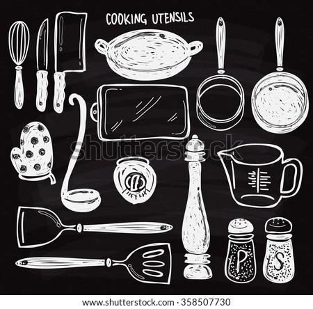 Set of cooking utensils doodle on chalk board - stock vector
