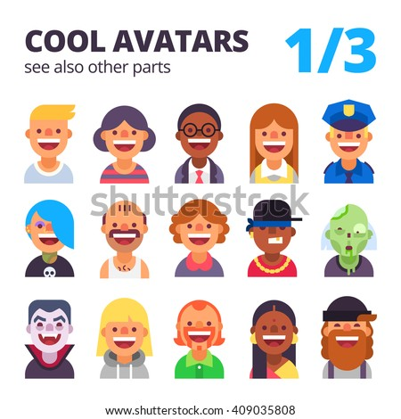 Set of cool avatars. Different skin tones, clothes and hair styles. Modern and simple flat cartoon style. Part 1 of 3. See also other parts. - stock vector