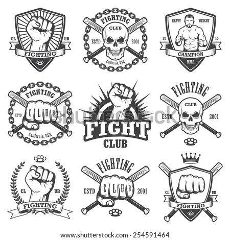 Set of cool fighting club emblems, labels, badges, logos. Monochrome graphic style - stock vector