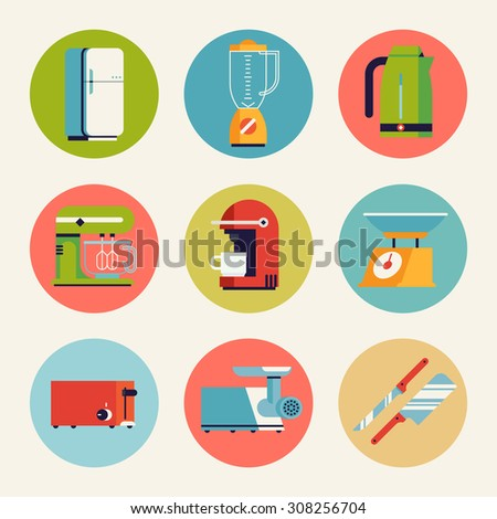 Set of cool vector home kitchen appliances, accessories and equipment round web icons in trendy flat design featuring fridge, toaster, kettle, mixer, blender and more. Ideal for web and graphic design - stock vector