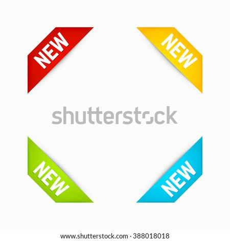 Set of Corner New Ribbons in Different Colors. Corner banners. Vector. - stock vector