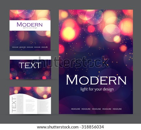 Set of corporate bokeh lights templates. Abstract brochure design. Vector illustration. - stock vector