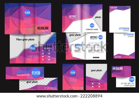 Set of corporate business stationery templates. Abstract brochure design with blurred bokeh lights. Modern back and front flyer backgrounds. Vector illustration. - stock vector